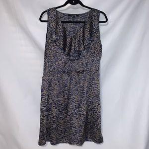 Navy/Gold, Silk like ruffle dress. Size Large